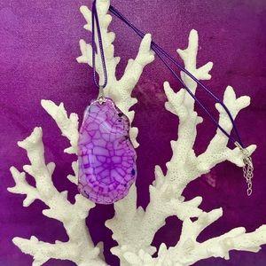 Purple & Lavender Crazy Lace Agate Slice Necklace
